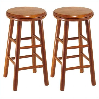Winsome Windsor 24&quot; Swivel Counter Stools in Cherry (Set of 2)