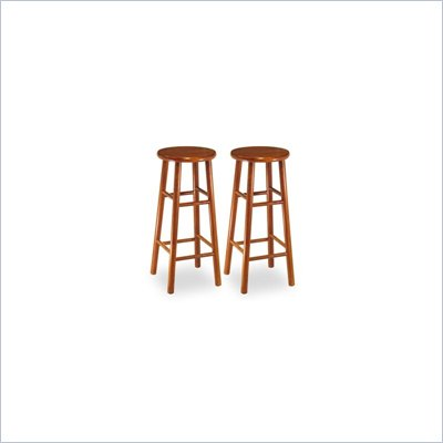 "Winsome 30"" Backless Bevel Seat Bar Stool in Cherry (Set of 2)"