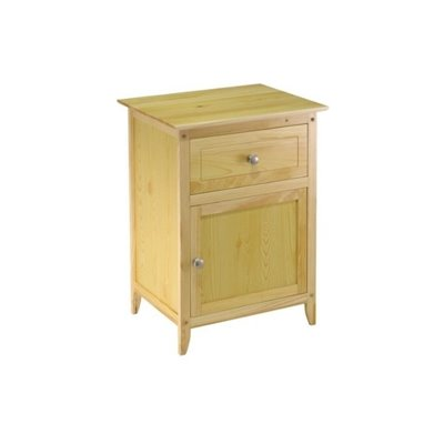 Winsome Night Stand with Cabinet and Drawer in Natural Finish