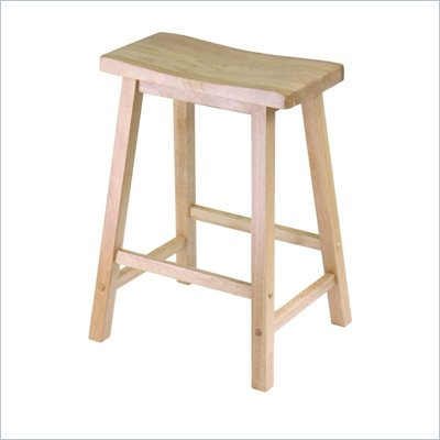 "Winsome 24"" Counter Height Saddle Bar Stool in Beech"