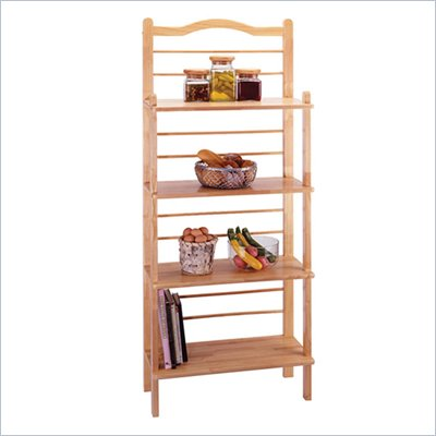 Winsome Solid Wood 4 Shelf Bakers Rack in Natural Finish