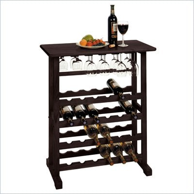 Winsome Vinny Wine Rack and Glass Holder in Dark Espresso