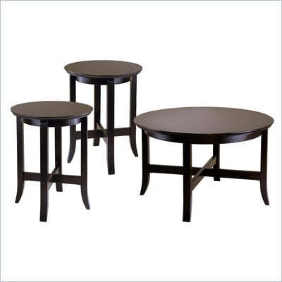Winsome Singleton 3 Piece Coffee Table Set in Dark Espresso