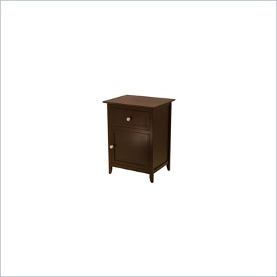 Winsome Nightstand with Cabinet and Drawer in Espresso