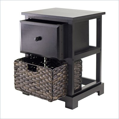 Winsome Casablanca Espresso Accent Table with Folding Basket
