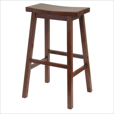Winsome 29&quot; Saddle Bar Stool in Antique Walnut