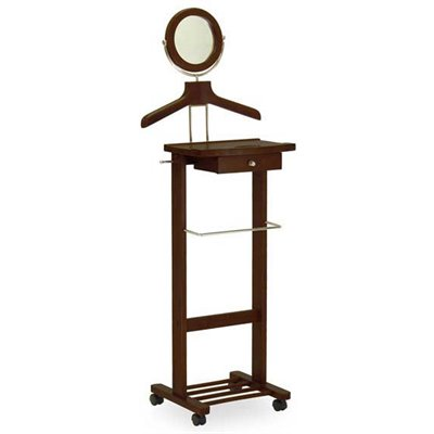 Winsome Rolling Valet Stand in Antique Walnut