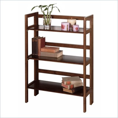 Winsome 3-Tier Folding Shelf in Antique Walnut