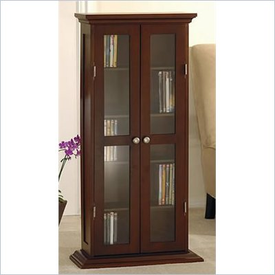 Winsome CD/DVD/VHS Media Storage Cabinet in Antique Walnut