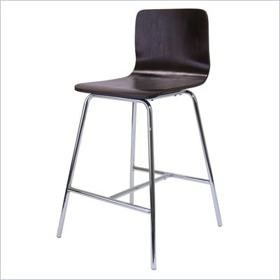 Winsome Archer 24&quot; Counter Height Stool in Walnut and Chrome