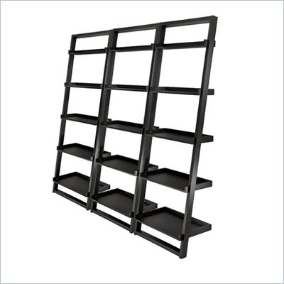 Winsome Bailey 5-Tier Ladder Bookcase Set in Black