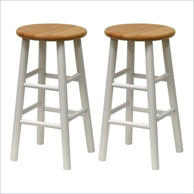 Winsome Basics 24&quot; Counter Height Bar Stools in White and Natural (Set of 2)