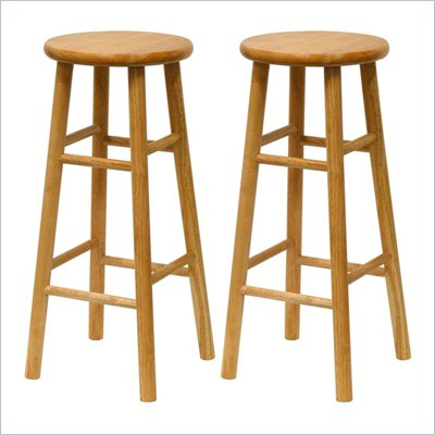 Winsome Basics 30&quot; Natural Finish Bar Height Stools (Set of 2)