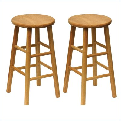 Winsome Basics 24&quot; Natural Finish Counter Height Bar Stools (Set of 2)
