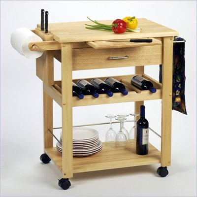Winsome Basics Butcher Block Kitchen Cart in Solid Natural Beachwood