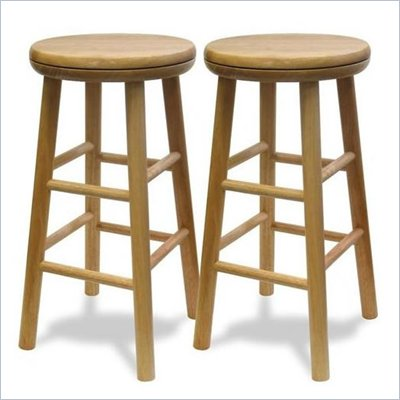 "Winsome Basics 24"" Beechwood Counter Height Swivel Bar Stools (Set of 2)"