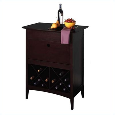 Winsome Wine Butler with Glass Rack in Dark Espresso