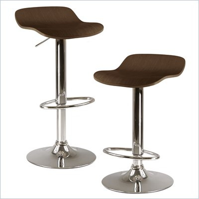 Winsome Kallie Air Lift Adjustable Stools in Cappuccino (Set of 2)