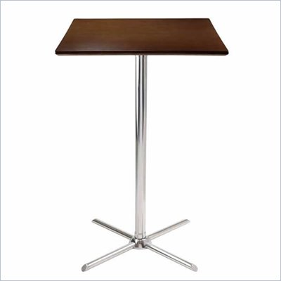 Winsome Kallie Cappuccino Square Pub Table with Metal X-Base