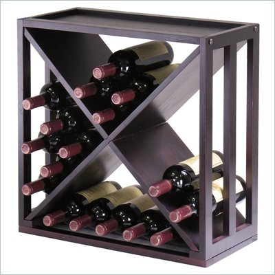 Winsome Kingston Modular and Stackable &quot;X&quot; Wine Cubby in Espresso