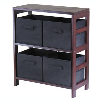 Winsome Leo 2-Section Storage Shelf with 4 Foldable Black Fabric Baskets