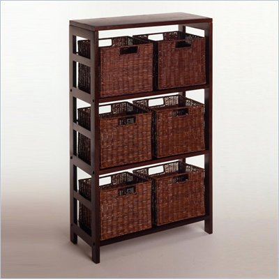 Winsome Leo 3-Section Storage Shelf and 6 Wired Baskets in Espresso
