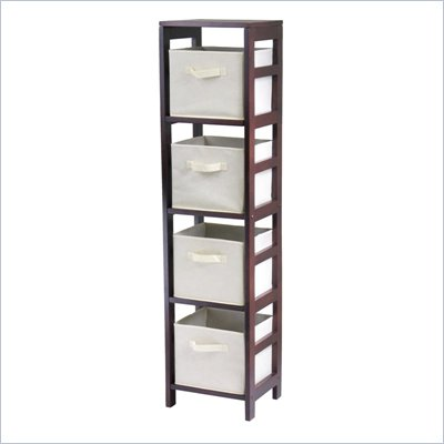 Winsome Leo 4-Section Tall Storage Shelf with 4 Foldable Beige Fabric Baskets