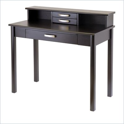 Winsome Liso Wood Writing Desk with Hutch in Dark Espresso