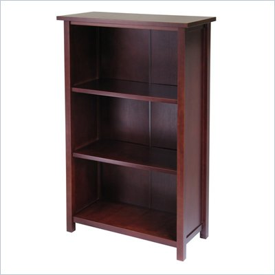 Winsome Milan 3-Tier Medium Storage Shelf in Antique Walnut