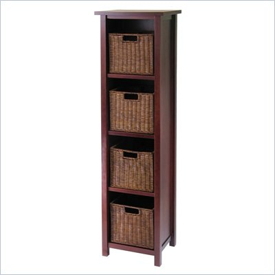 Winsome Milan 5-Tier Tall Storage Shelf with 4 Wired Baskets in Antique Walnut