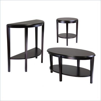 Winsome Nadia 3 Piece Coffee Table Set in Dark Espresso Finish