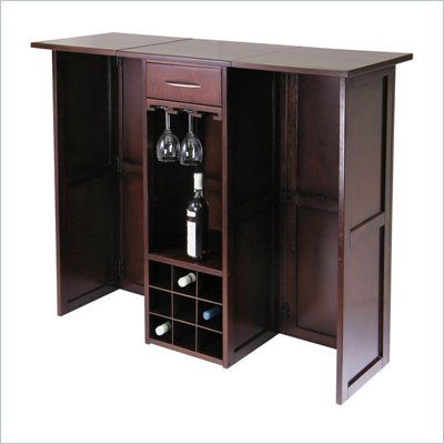 Winsome Newport Expandable Counter Home Wine Bar in Antique Walnut