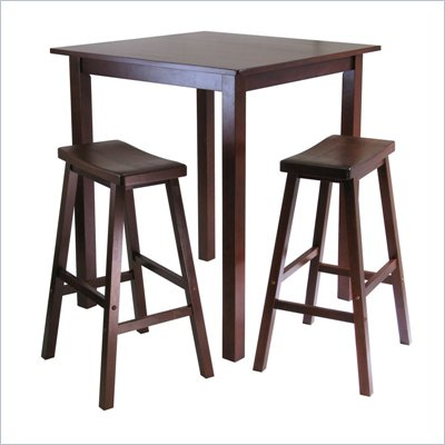 Winsome Parkland 3pc Bar-Height Square Pub Table &amp; 2 Stools Set in Antique Walnut