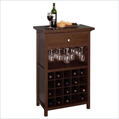 Winsome Regalia 20 Bottle Wine Cabinet in Antique Walnut