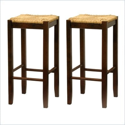 "Winsome Regalia 29"" Bar Stools in Antique Walnut (Set of 2)"
