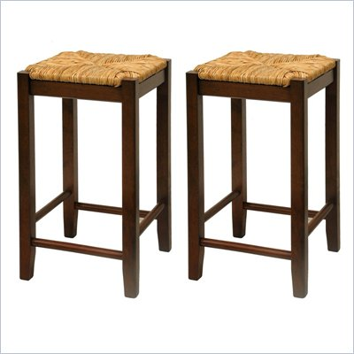 "Winsome Regalia 24"" Counter Height Bar Stools in Antique Walnut  (Set of 2)"