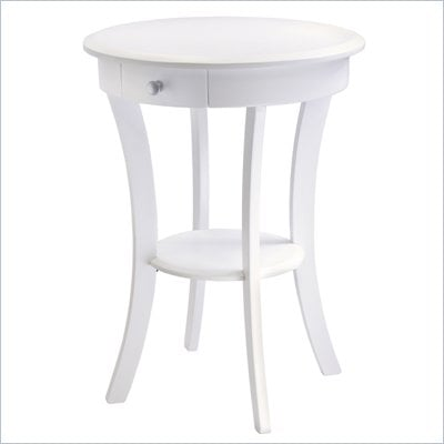 Winsome Wood Sasha Round Accent Table with Drawer Curved Legs in White