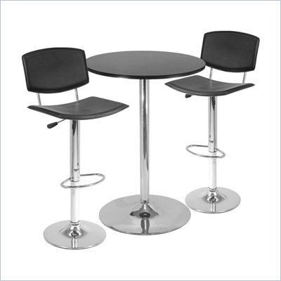 Winsome Spectrum Bar Height Pub Table w/ 2 Adjustable Air Lift Stools in Black/Metal