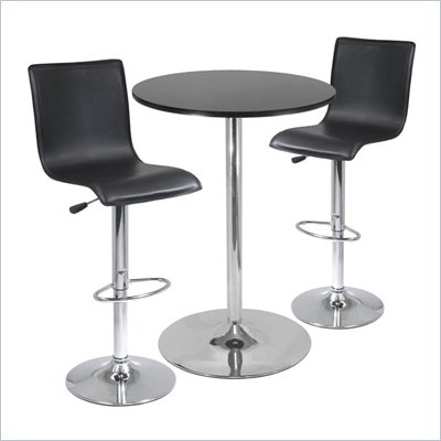 Winsome Spectrum High Back 3 Piece Pub/Bar Table Set in Black &amp; Chrome