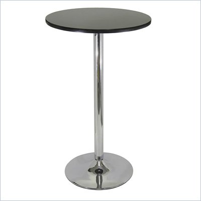 "Winsome Spectrum 24"" Round Bar Height Pub Table in Black and Chrome"