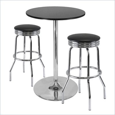 Winsome Summit 3 Piece Pub Set with Swivel Stools in Black