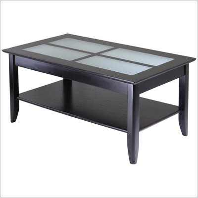 Winsome Syrah Solid Wood Glass Top Rectangular Coffee Table in Espresso