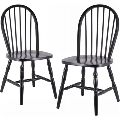 Winsome Windsor Dining Chairs in Black (Set of 2)