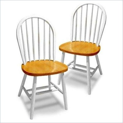 Winsome Windsor Dining Wood Side Chairs in White/Natural (Set of 2)