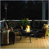 Outdoor GreatRoom Company 42 Inch Wood Burning Metal Firepit with Black Glass Top