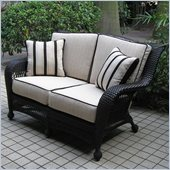 Outdoor GreatRoom Company Ebony Loveseat with 4 Piece Ivory Cushions