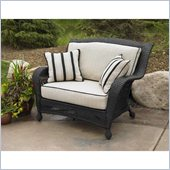 Outdoor GreatRoom Company Ebony Chair and a Half with 2 Piece Ivory Cushions