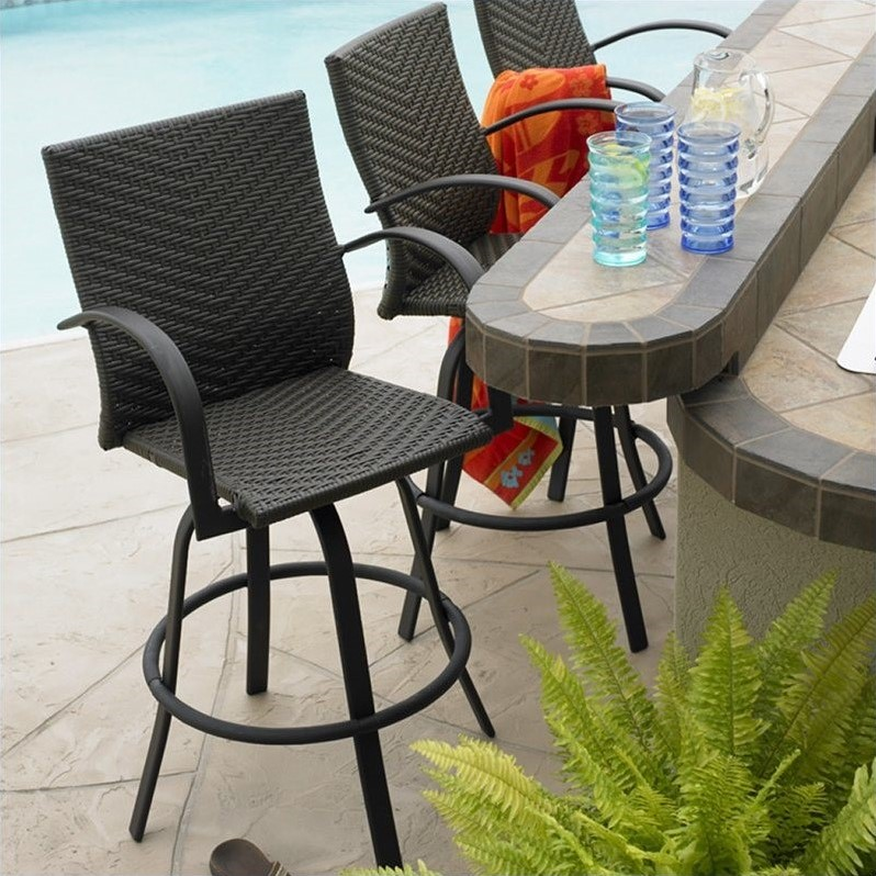 Outdoor Great Room Company Woven Resin Wicker Swivel Bar stool (Set of 2)
