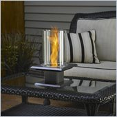 Outdoor GreatRoom Company Allure Table Top Gel Fuel Metal Firepit in Silver Vein