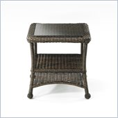 Balsam Wicker End Table with Glass Top